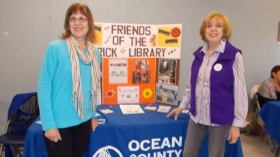Patty Krall and Louise Mallen host the Friends table at the Brick Library Community Volunteer Fair