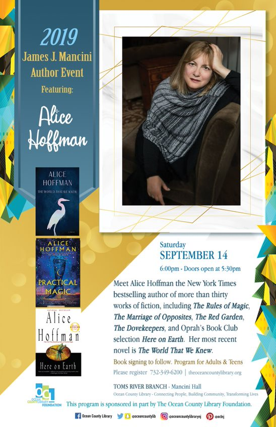 2019 James J Mancini Author Program Presents Alice Hoffman